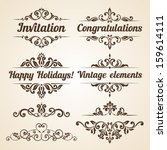 set of vintage ornaments with... | Shutterstock .eps vector #159614111
