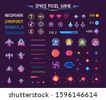 space pixel game isolated...   Shutterstock . vector #1596146614
