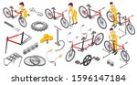 bicycle repair male female... | Shutterstock .eps vector #1596147184