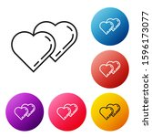 black line two linked hearts... | Shutterstock . vector #1596173077