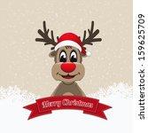 reindeer ribbon merry christmas | Shutterstock .eps vector #159625709