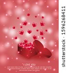 valentine's day poster and... | Shutterstock .eps vector #1596268411