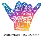 colorful surf camp shaka hand... | Shutterstock .eps vector #1596276214