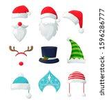 vector set of christmas hats ...   Shutterstock .eps vector #1596286777