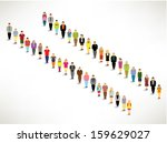 a big group of queuing up... | Shutterstock .eps vector #159629027
