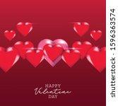 happy valentine day 3d design... | Shutterstock .eps vector #1596363574