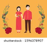 male and female wear chinese... | Shutterstock .eps vector #1596378907