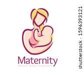maternity logo design template  ... | Shutterstock .eps vector #1596393121