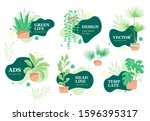 greenery stickers or... | Shutterstock .eps vector #1596395317