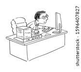 caricature cartoon ink drawing...   Shutterstock .eps vector #1596407827