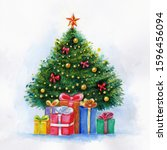 christmas tree with presents... | Shutterstock . vector #1596456094