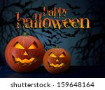 two halloween pumpkins on dark... | Shutterstock . vector #159648164