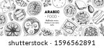 arabic food top view frame.... | Shutterstock .eps vector #1596562891