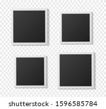 black and white polaroid photo... | Shutterstock .eps vector #1596585784