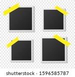 black and white polaroid photo... | Shutterstock .eps vector #1596585787