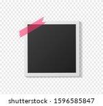 black and white polaroid photo... | Shutterstock .eps vector #1596585847