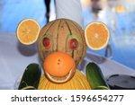 Carved Fruit Monkey On Display...