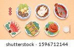 traditional lavish dishes for... | Shutterstock .eps vector #1596712144