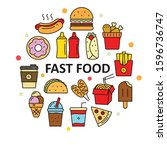 fast food vectors in circle.... | Shutterstock .eps vector #1596736747