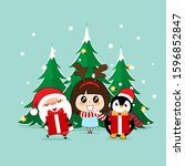 santa claus  penguin and cute...   Shutterstock .eps vector #1596852847
