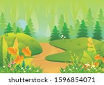 tropical landscape vector... | Shutterstock .eps vector #1596854071