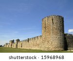 This medieval wall of Avila in Spain is an Unesco World Heritage Site - stock photo