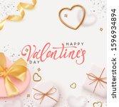 happy valentines day. romantic...   Shutterstock .eps vector #1596934894
