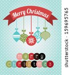 merry christmas  over  dotted... | Shutterstock .eps vector #159695765