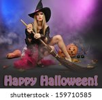 halloween witch with  broom on... | Shutterstock . vector #159710585