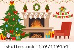 christmas and new year... | Shutterstock .eps vector #1597119454