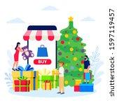 christmas shopping online  new... | Shutterstock .eps vector #1597119457