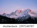 Mont Blanc Mountain At Sunset