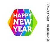 happy new year colorful banner  ... | Shutterstock .eps vector #1597157494