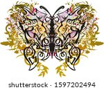 abstract linear butterfly with... | Shutterstock . vector #1597202494