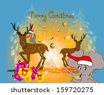 funny christmas cartoon with... | Shutterstock .eps vector #159720275