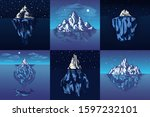 iceberg in the ocean set. a... | Shutterstock .eps vector #1597232101