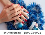 red christmas manicure with... | Shutterstock . vector #1597234921