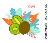 hand drawn kiwi on the... | Shutterstock .eps vector #1597235437