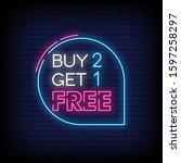 buy 2 get 1 free neon signs...   Shutterstock .eps vector #1597258297