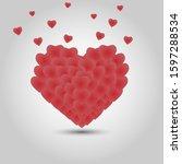 volumetric heart on a light... | Shutterstock .eps vector #1597288534