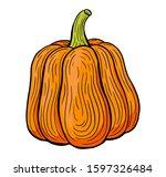 pumpkin hand drawn engraved...   Shutterstock .eps vector #1597326484