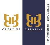 premium vector b logo in two...   Shutterstock .eps vector #1597338181