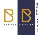 premium vector b logo in two...   Shutterstock .eps vector #1597338184