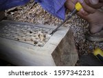 Small photo of closeup gouge for wood on carpenter workbench