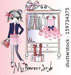 trendy girl wardrobe   Shutterstock .eps vector #159734375