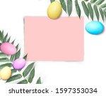 mock up easter pink empty paper ... | Shutterstock . vector #1597353034