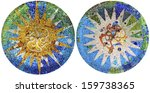 two detail of mosaic in guell... | Shutterstock . vector #159738365