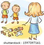 mother is asking who of the... | Shutterstock .eps vector #1597397161
