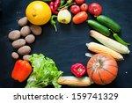 vegetables on a black background | Shutterstock . vector #159741329