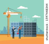 enginner and builder standing...   Shutterstock .eps vector #1597448344